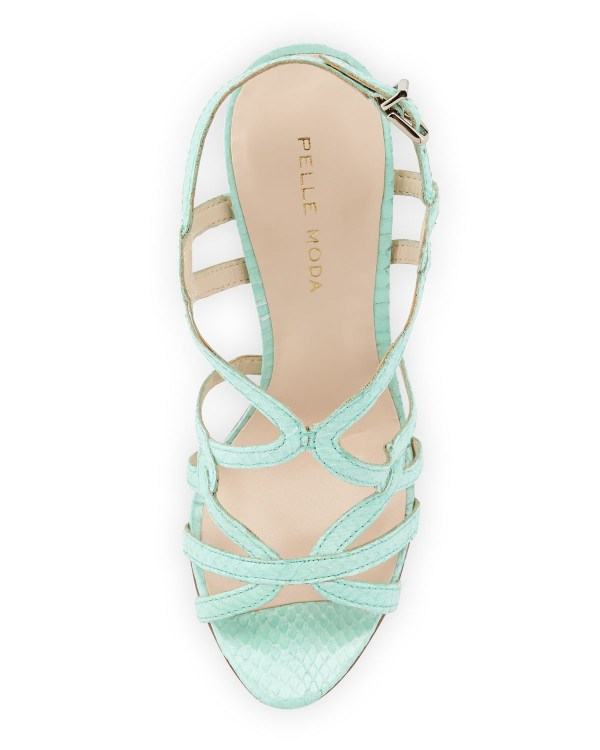 Pelle moda Flirty Snake Print Leather Sandal Aqua 6 12 in ...