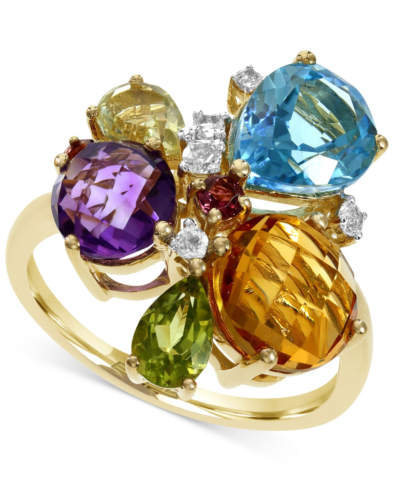Effy Collection Effy Multi Stone Mosaic Ring In 14k Gold