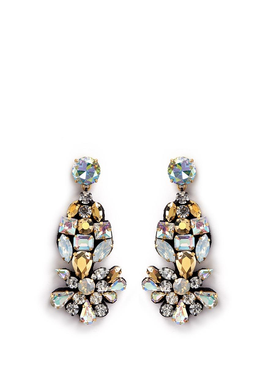 Lyst JCrew Crystal Fabric Backed Earrings