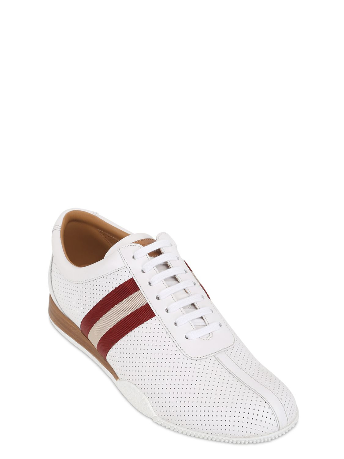 Bally Frenz Perforated Leather Sneakers In White For Men