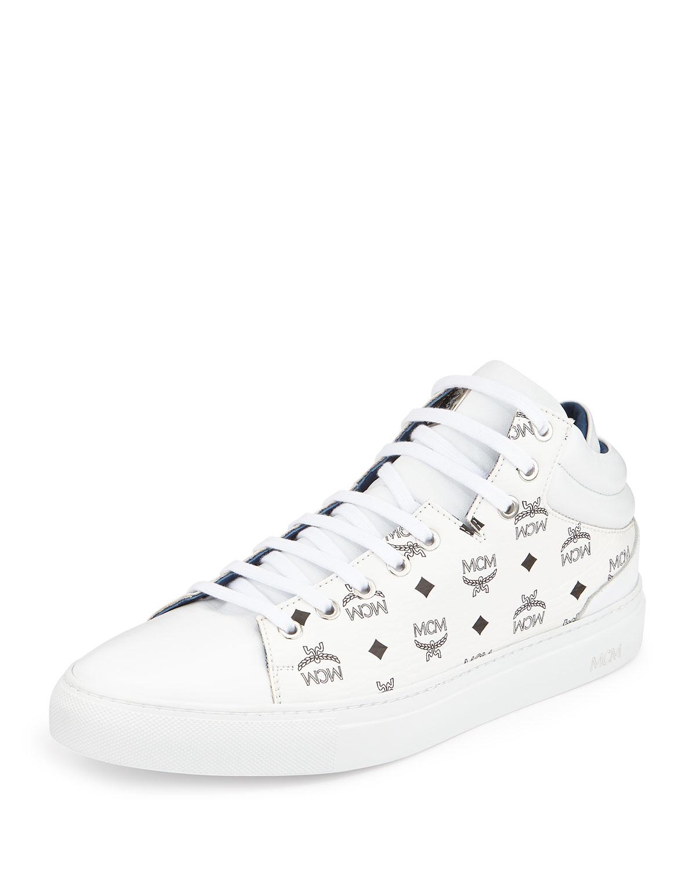 Mcm Monogrammed Low Top Sneakers In White For Men