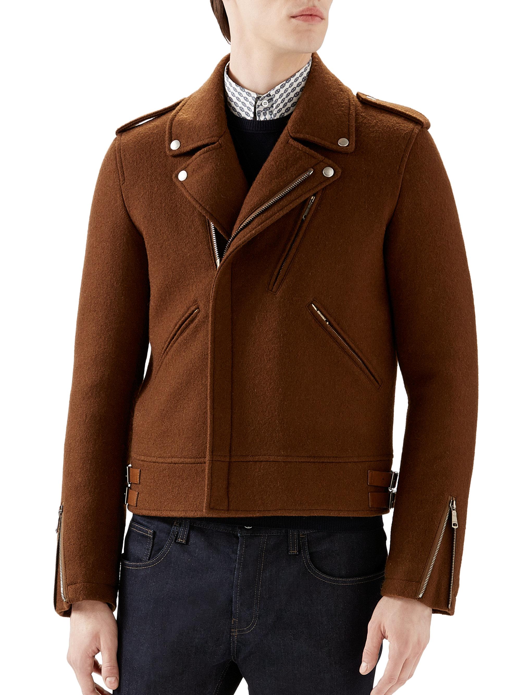 Lyst Gucci Wool Biker Jacket In Brown For Men