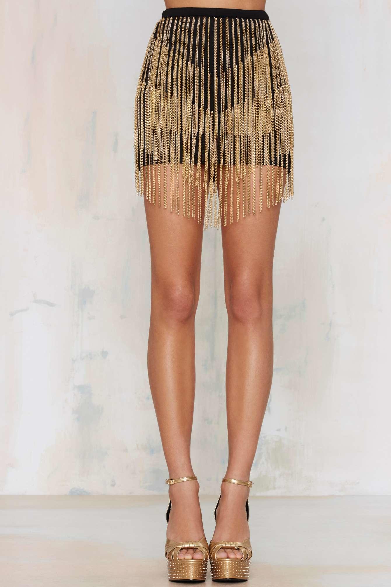 Nasty Gal Chain Bae Mini Skirt Gold In Metallic Lyst