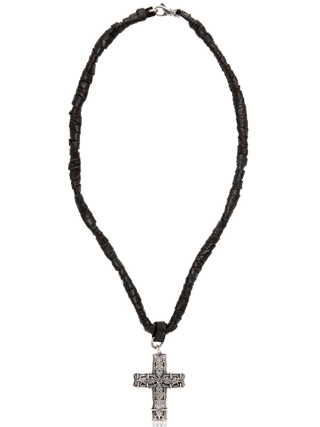 Emanuele Bicocchi Woven Leather Amp Silver Cross Necklace In