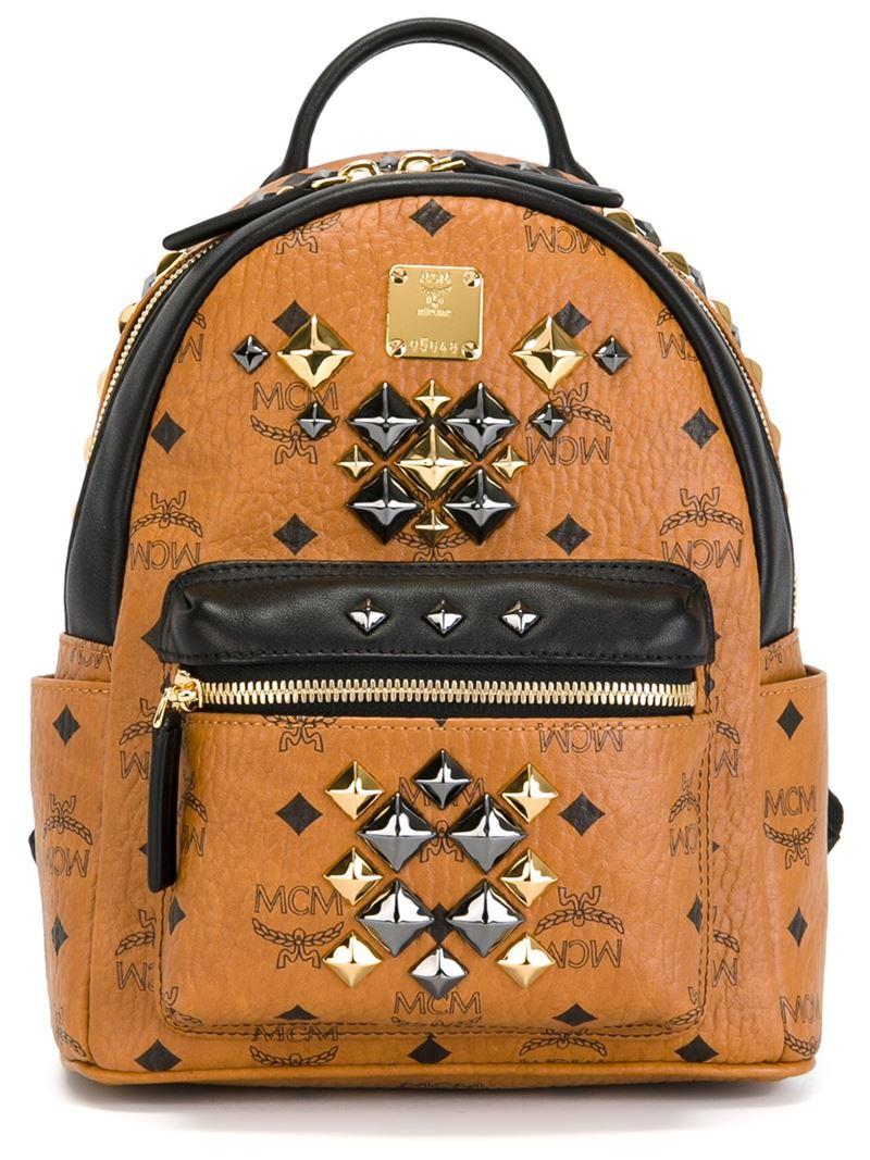 Mcm Mini Stark Brock Backpack In Brown Lyst