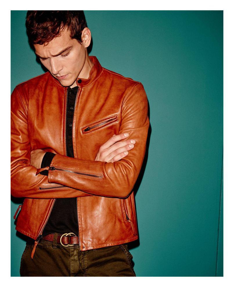 ee1d86158 Lyst Polo Ralph Lauren Lambskin Leather Cafe Racer Jacket In Brown