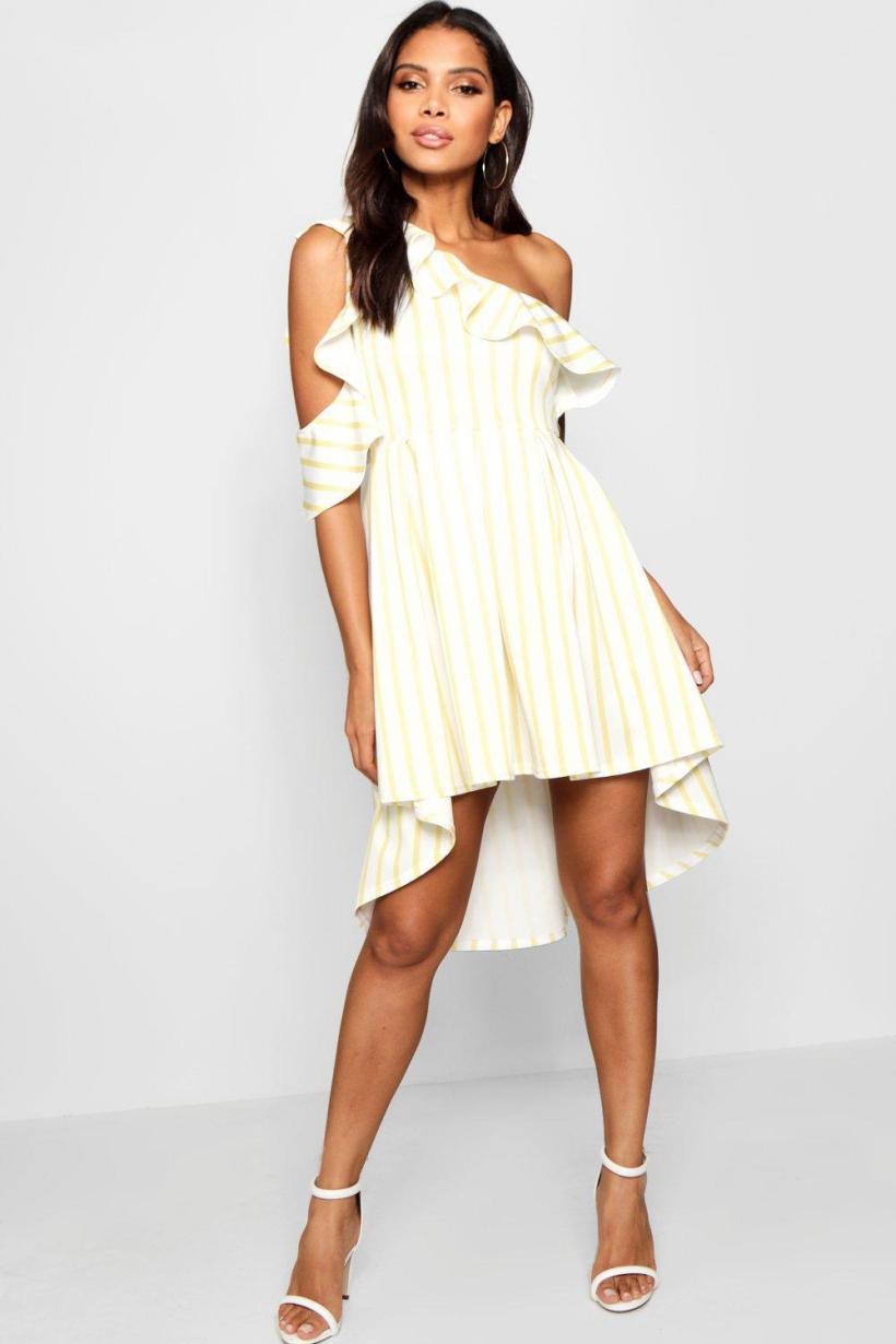 2cdd46a0d472c Boohoo Stripe Frill Shoulder Detail Skater Dress In White Lyst
