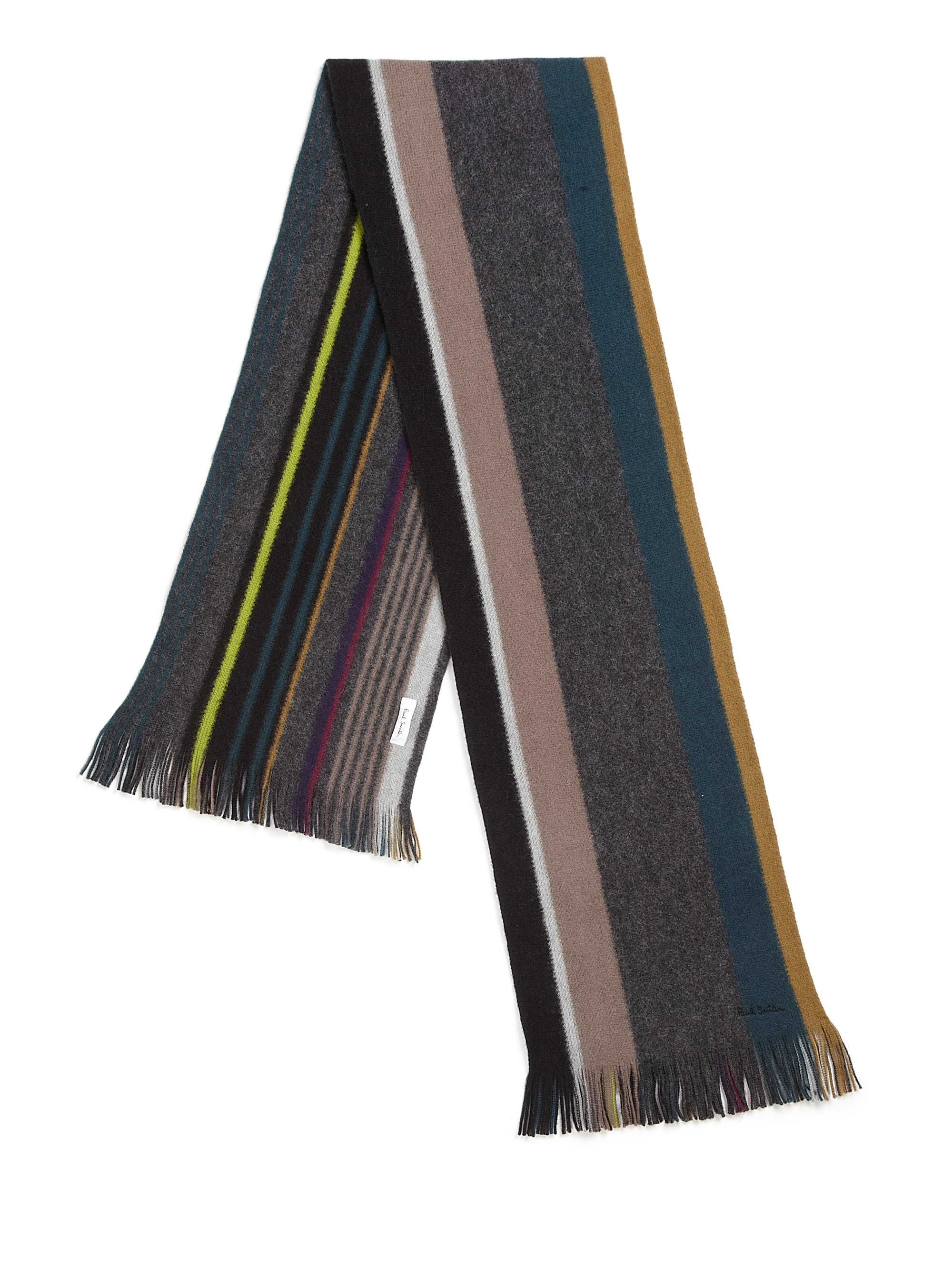 Paul Smith Striped Wool Scarf In Gray For Men Lyst