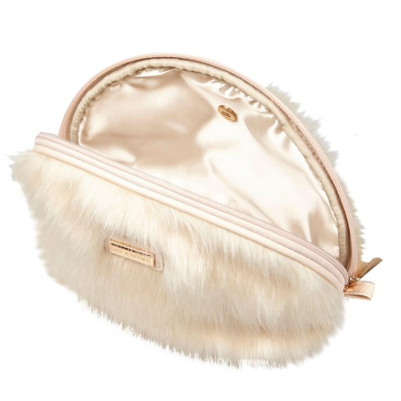 4c96258b384275 River Island Cream Faux Fur Make Up Bag In Natural Lyst