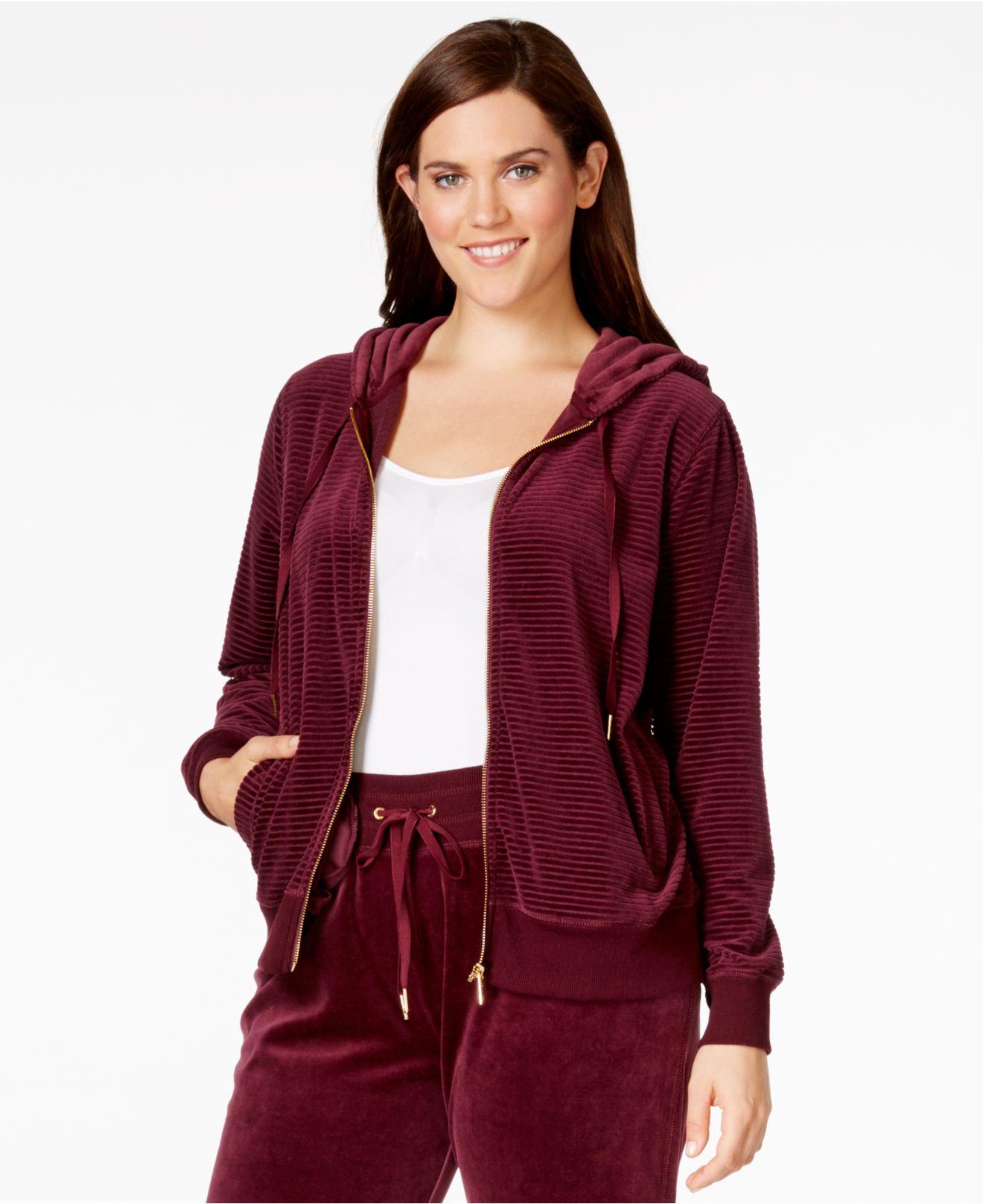 Calvin Klein Plus Size Ribbed Knit Velour Hooin Purple