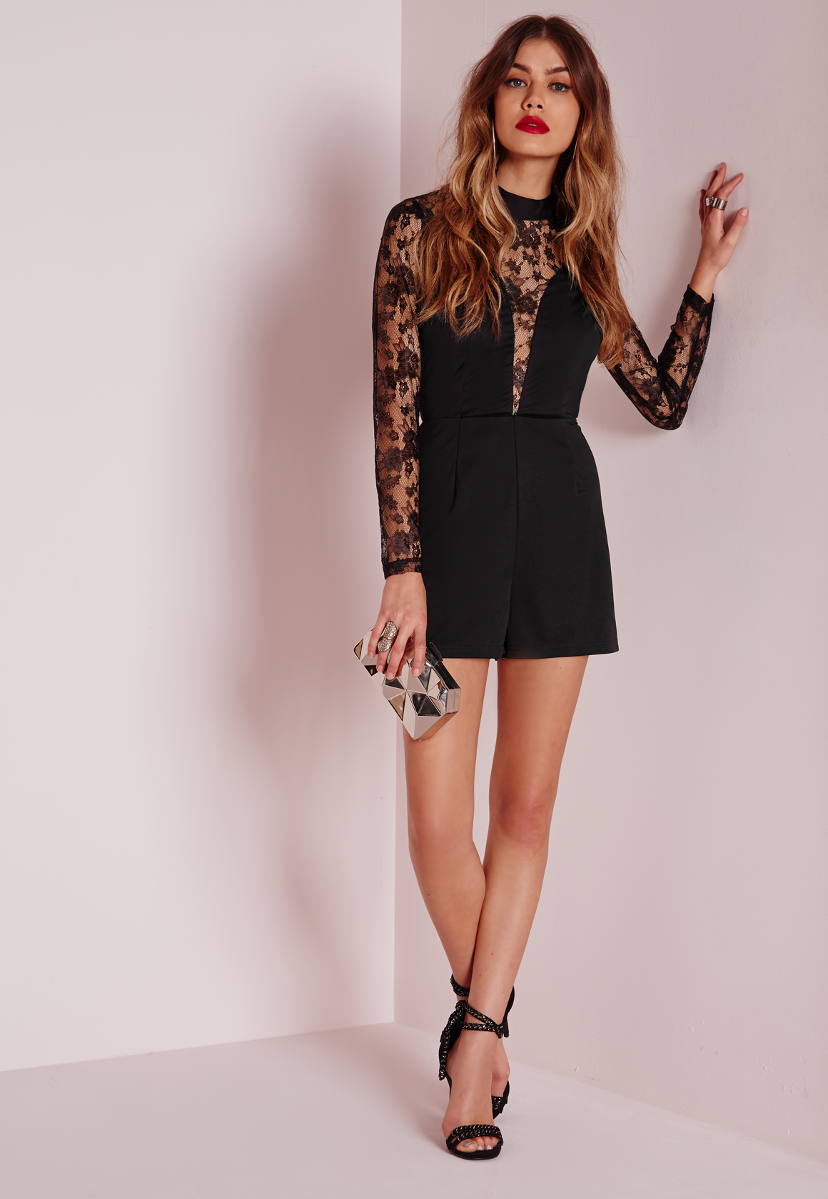Lyst Missguided High Neck Lace Detail Playsuit Black In