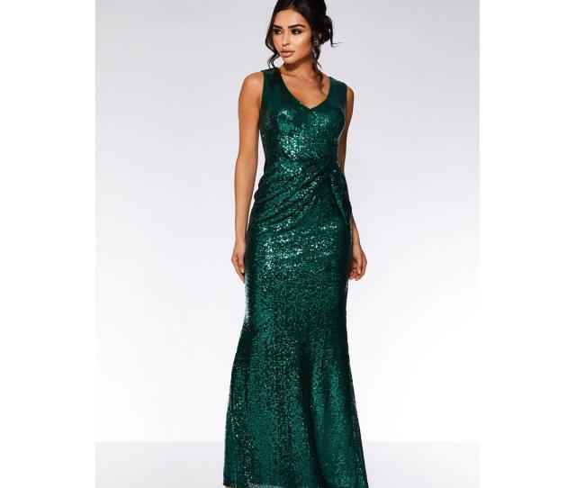 Quiz Womens Emerald Green Sequin V Neck Maxi Dress