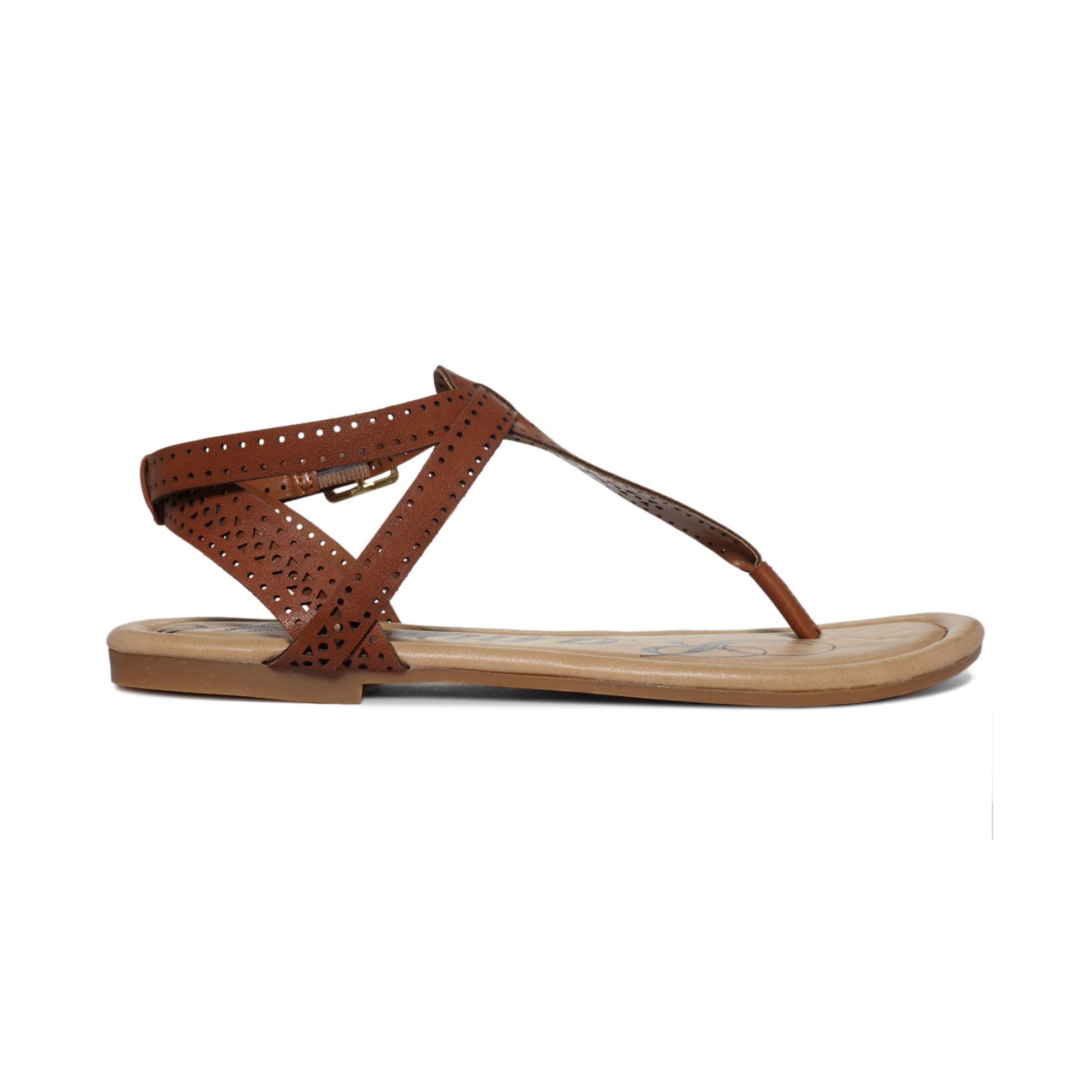 Rampage Pasha Tstrap Flat Thong Sandals In Brown Lyst