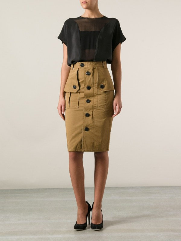 Lyst - Dsquared² Military Skirt in Brown