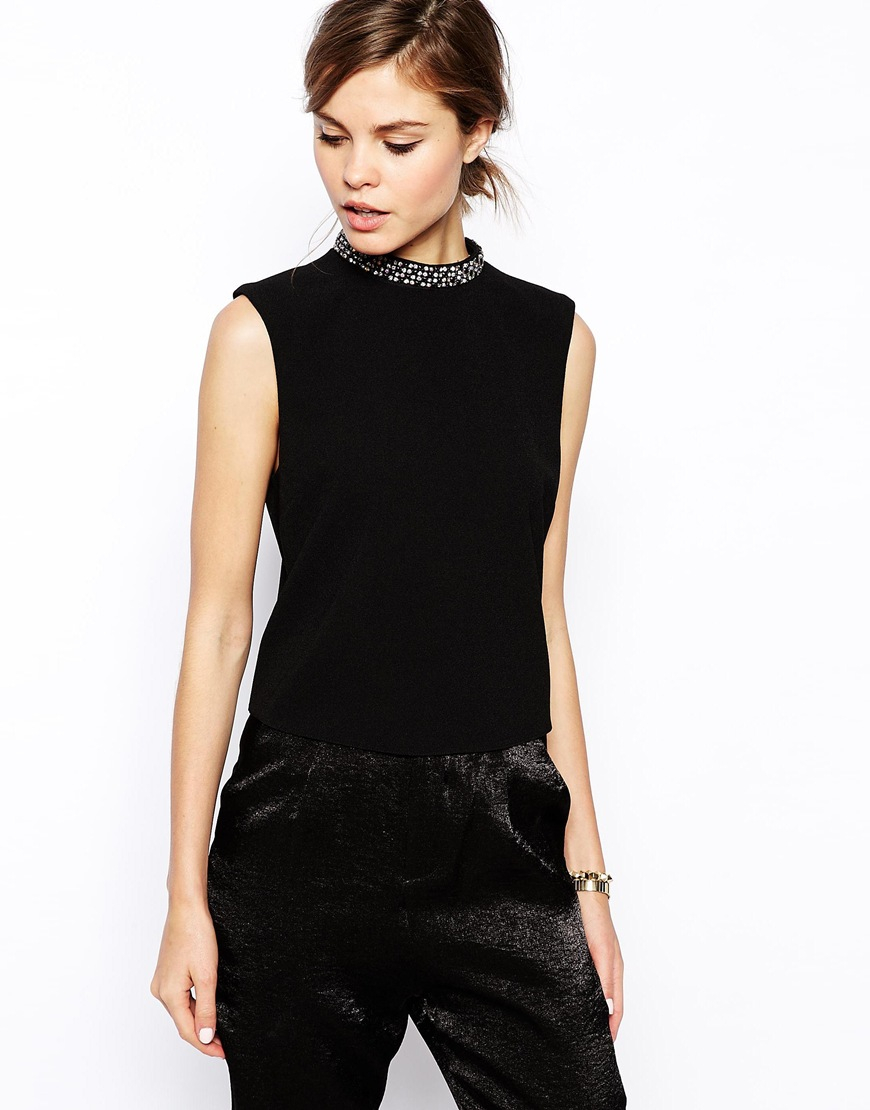Asos High Neck Top With Embellished Neckline In Black Lyst