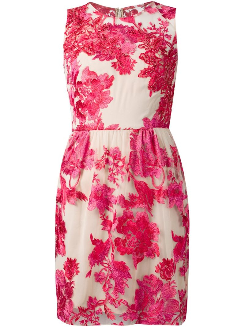 Notte By Marchesa Floral Embroidered Dress In Pink Lyst