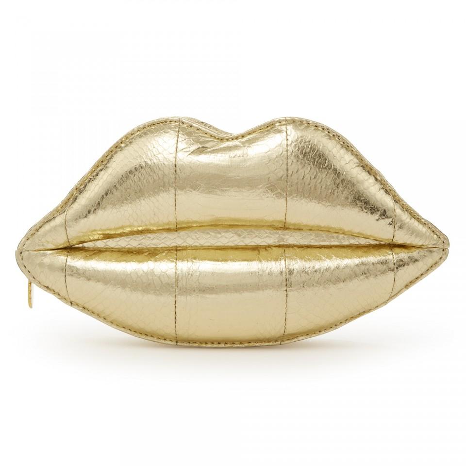 Lulu Guinness Gold Metallic Snakeskin Lips Clutch In