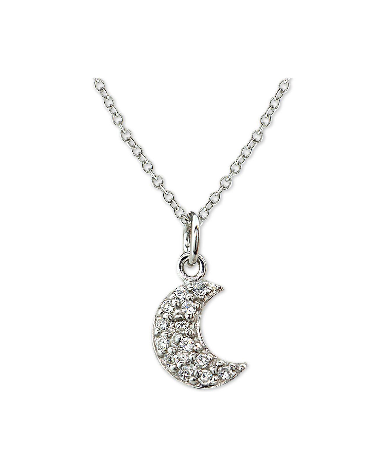 Macy S Cubic Zirconia Crescent Moon Pendant Necklace In