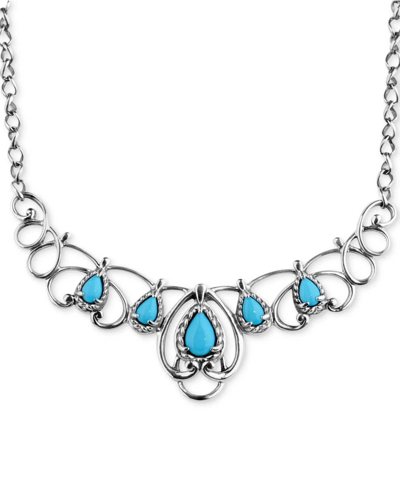 Carolyn Pollack Turquoise Statement Necklace 2 1 6 Ct T