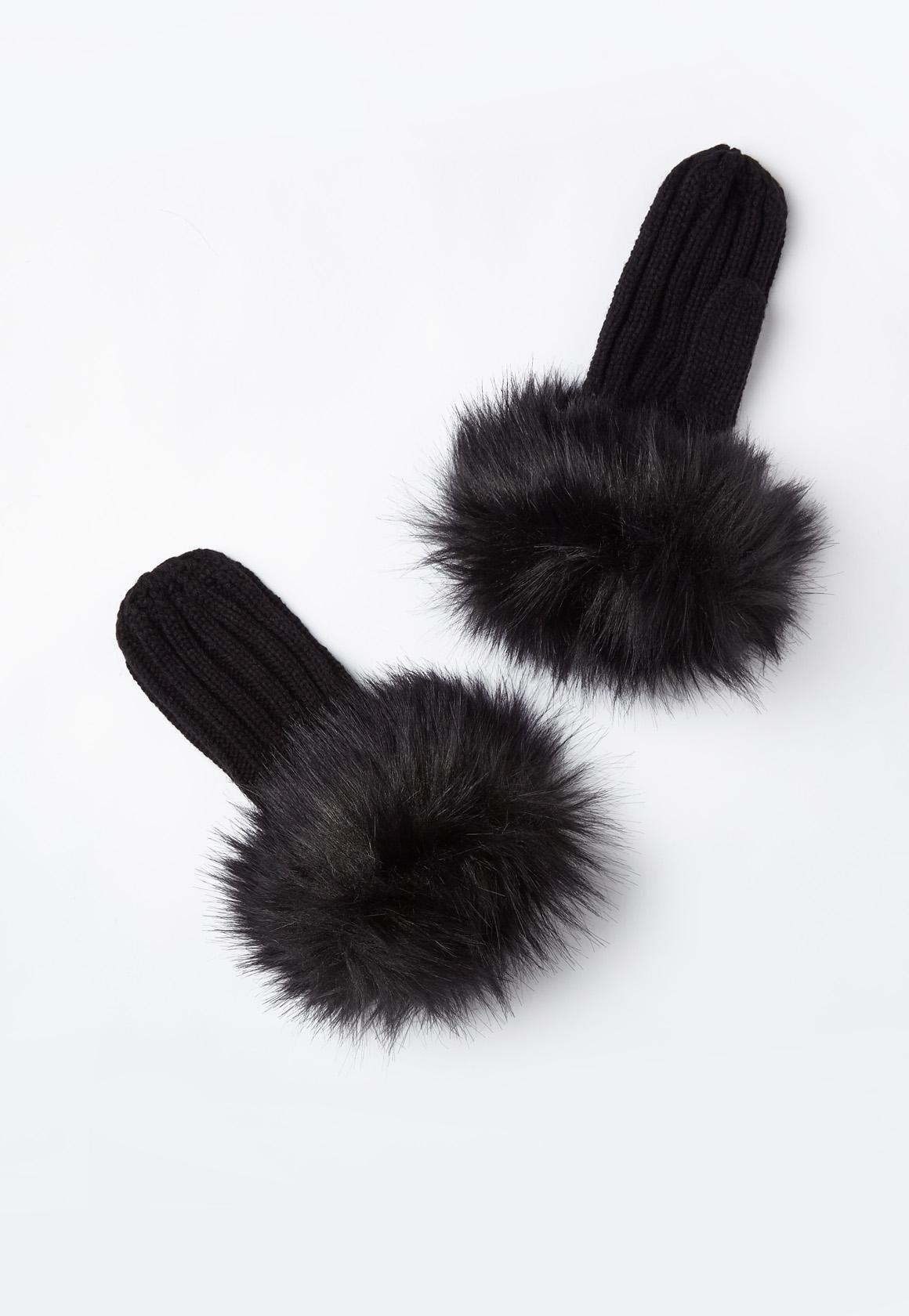 Black Shearling Mittens
