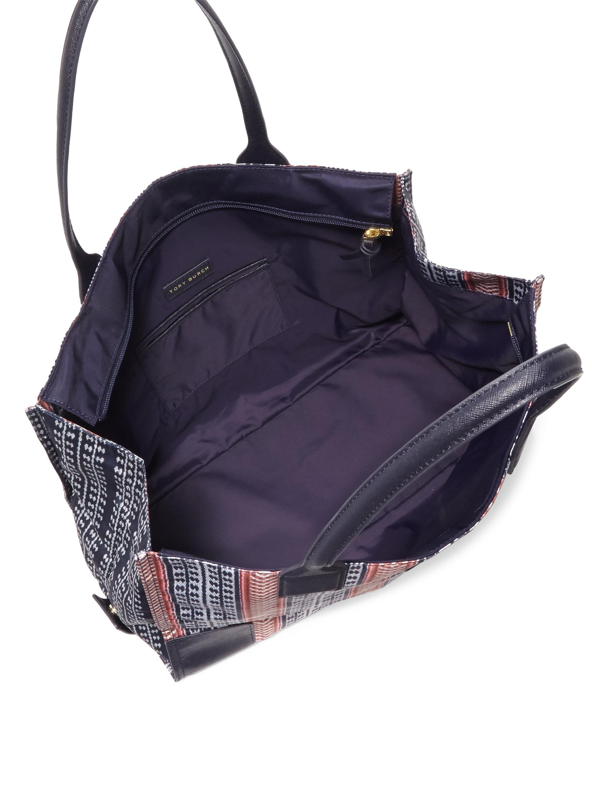 Lyst Tory Burch Ella Packable Printed Tote Bag In Blue