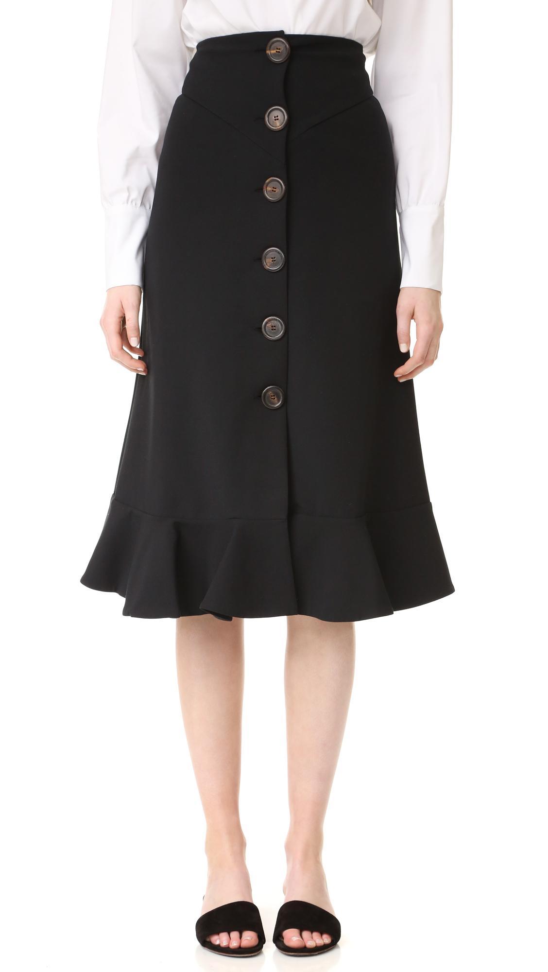 Awake Button Front Skirt In Black Lyst