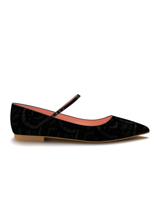 Shoes of Prey Allie Pointed Toe Mary Jane Flat Shoes of Prey Allie Pointed Toe Mary Jane Flat