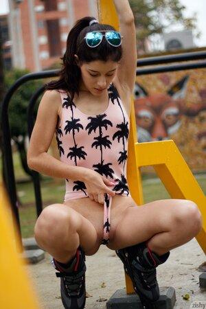 Tiny brunette teen enjoys