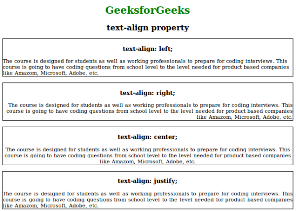CSS | text-align Property - GeeksforGeeks