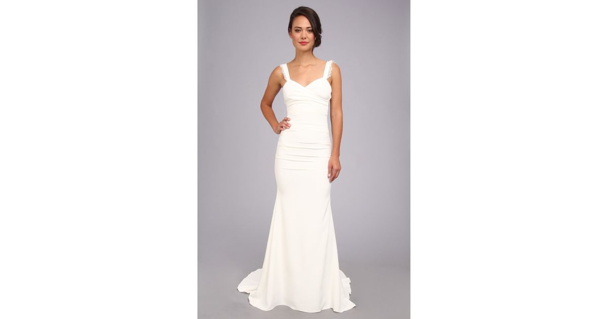 Nicole Miller Alexis Low Back Bridal Gown In White