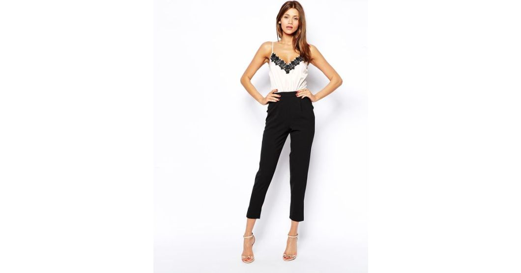 30bac6db57a0 Lyst Lipsy Cami Top Jumpsuit With Lace Trim In Black