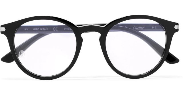 e72c6e5f875 Lyst Cartier Round Frame Acetate Optical Gl In Black