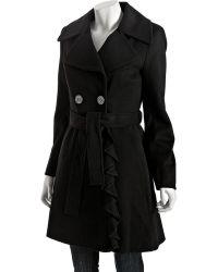 Elie Tahari Black Stretch Wool Ruffle Front Lina Coat In