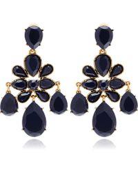 Oscar De La A Navy Crystal Clipon Chandelier Earrings Lyst