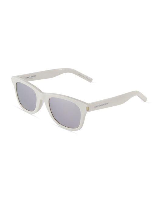 Saint laurent Surf Square Acetate Sunglasses in White | Lyst