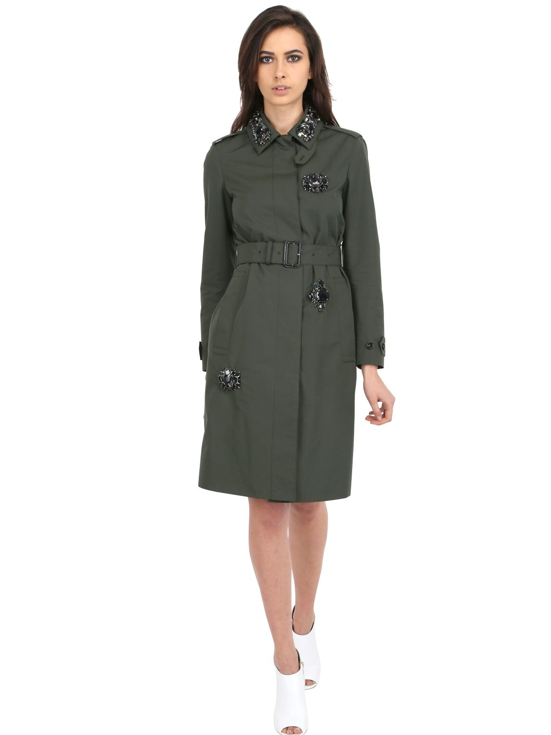 Lyst Burberry Prorsum Embellished Cotton Blend Trench