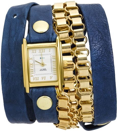 La Mer Collections Leather & Gold Chain Wrap Watch in Blue ...