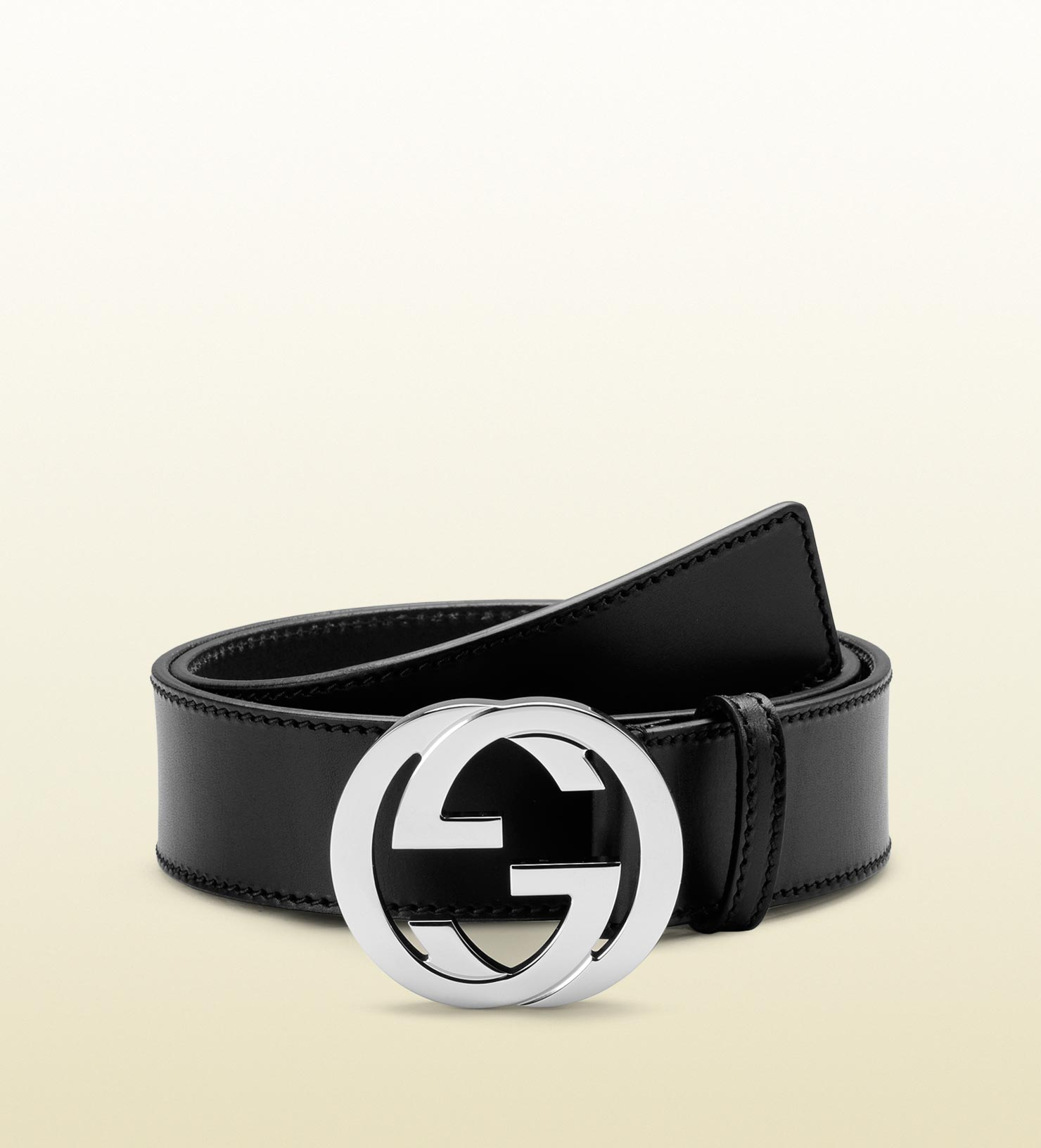 194ae8119d3b Gucci Leather Belt With Interlocking G Buckle In Black For Men Lyst