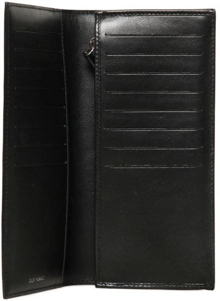Dior Homme Pleated Patent Leather Long Wallet In Black For