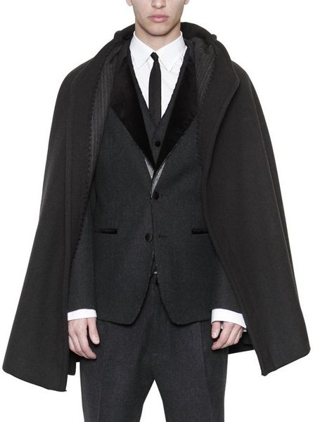 Dolce & Gabbana charcoal wool blend short cape coat