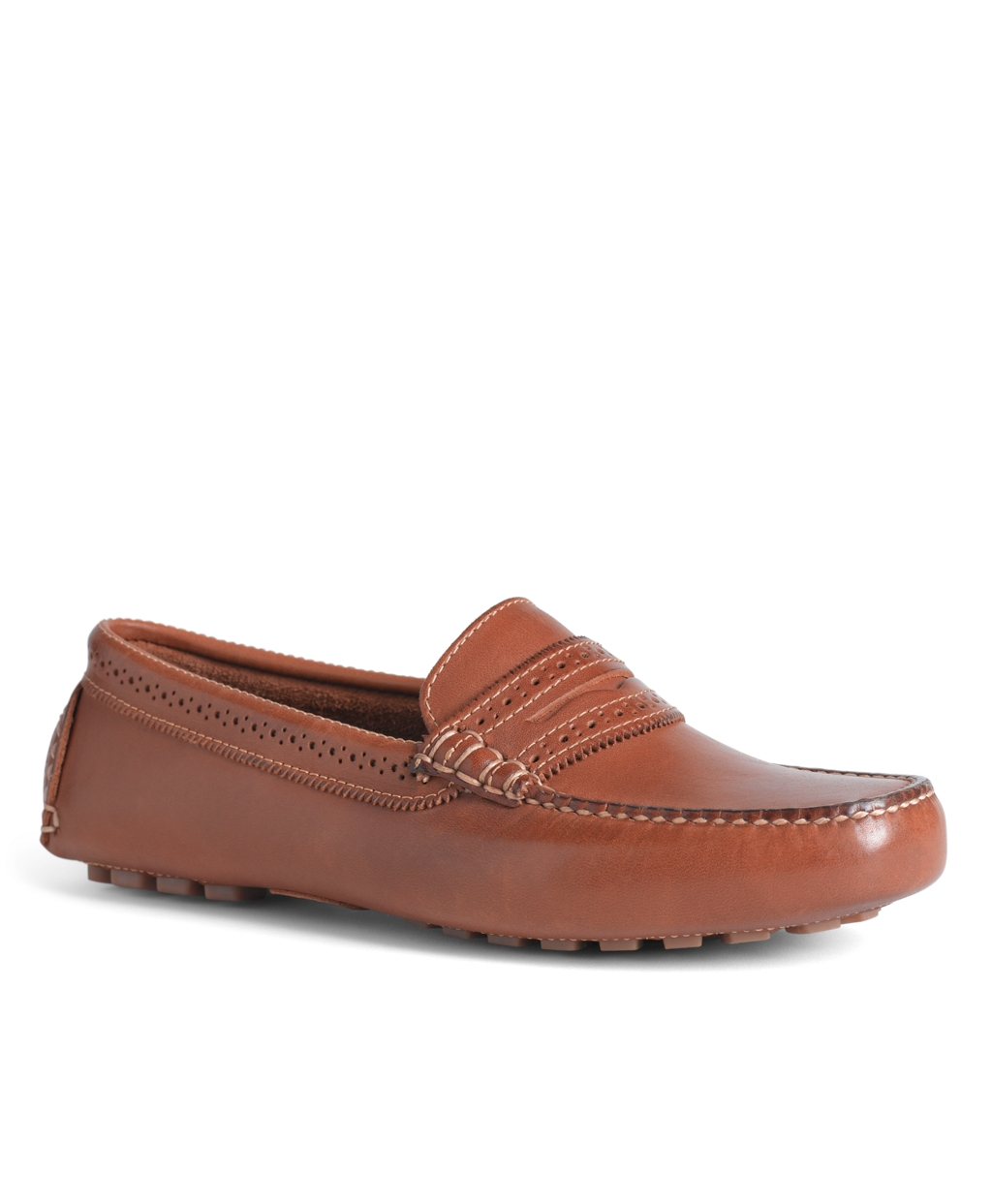 Brooks Brothers Burnished Calfskin Driver Shoes In Brown