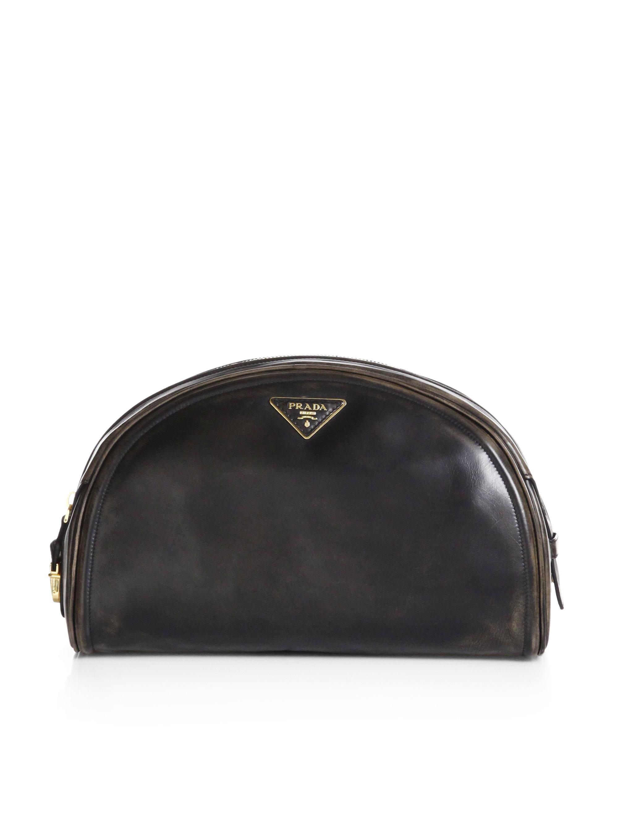 Lyst Prada Vitello Vintage Bowler Clutch In Black