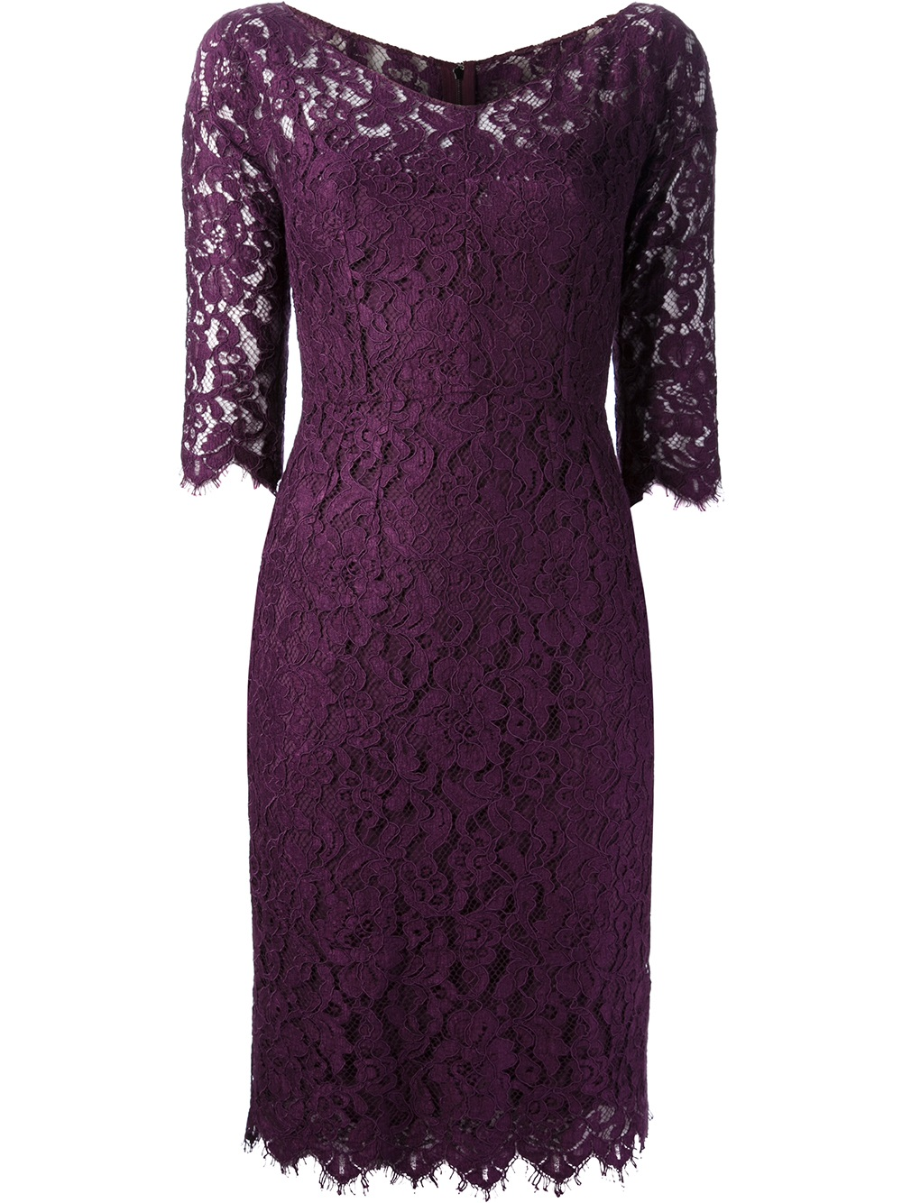 Dolce Amp Gabbana Lace Dress In Purple Lyst