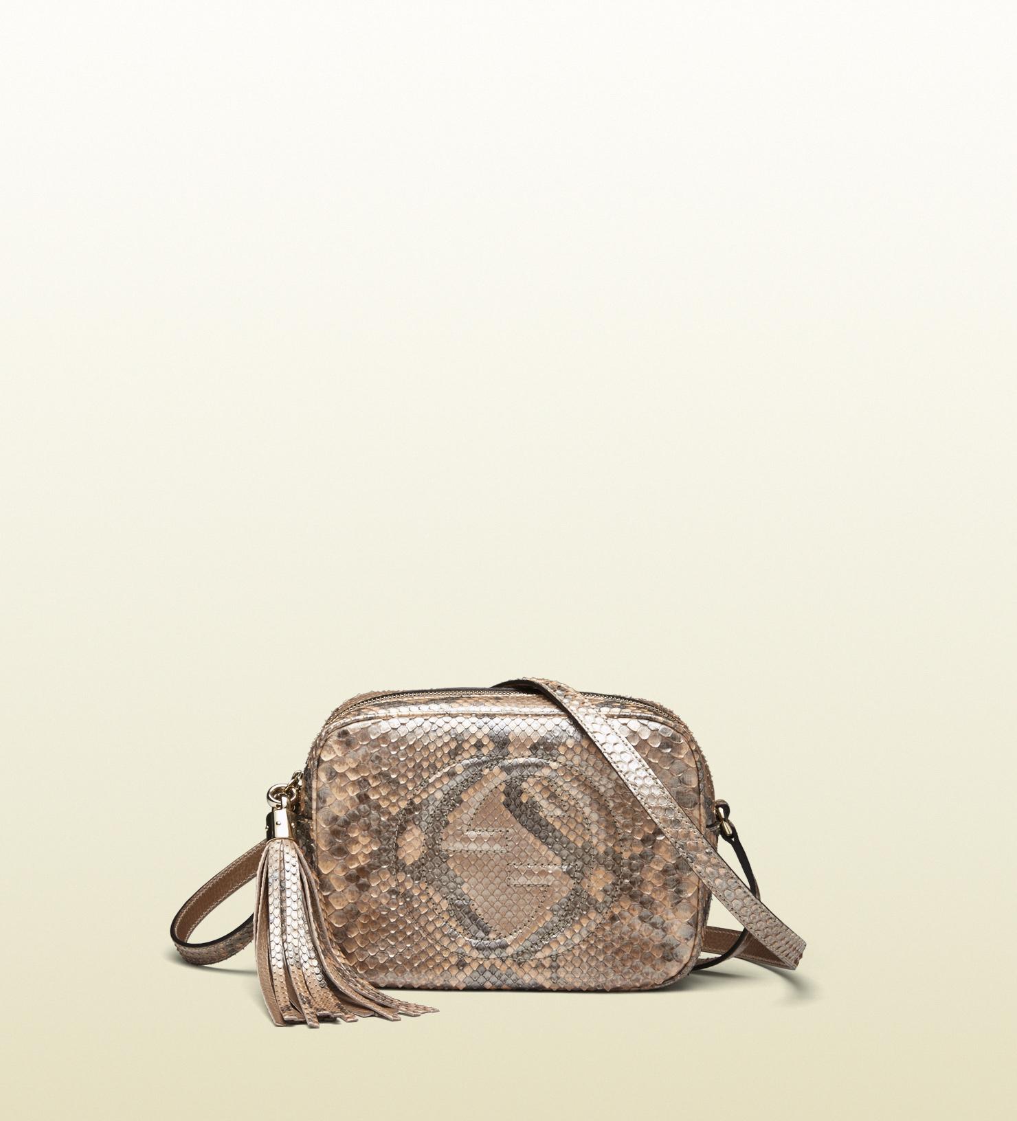 2d9f4e110283 Gucci Metallic Leather Small Soho Disco Bag Golden Beige 80187 ...