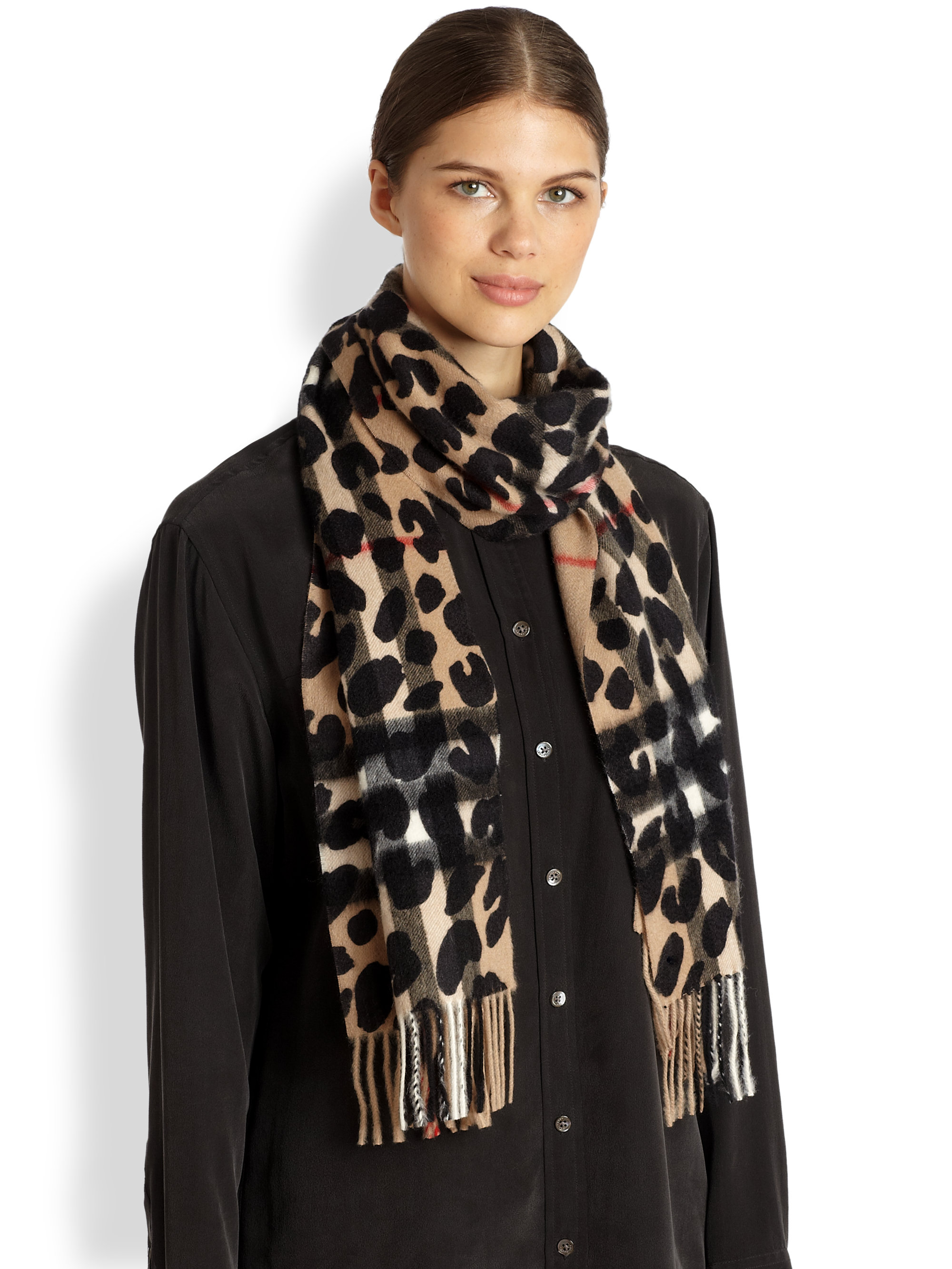 Lyst Burberry Cashmere Leopard Print Check Scarf
