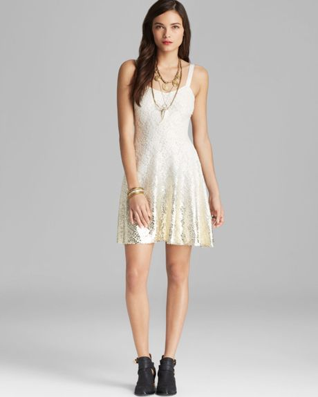 Free People Foil Ombre Fit N Flare Dress