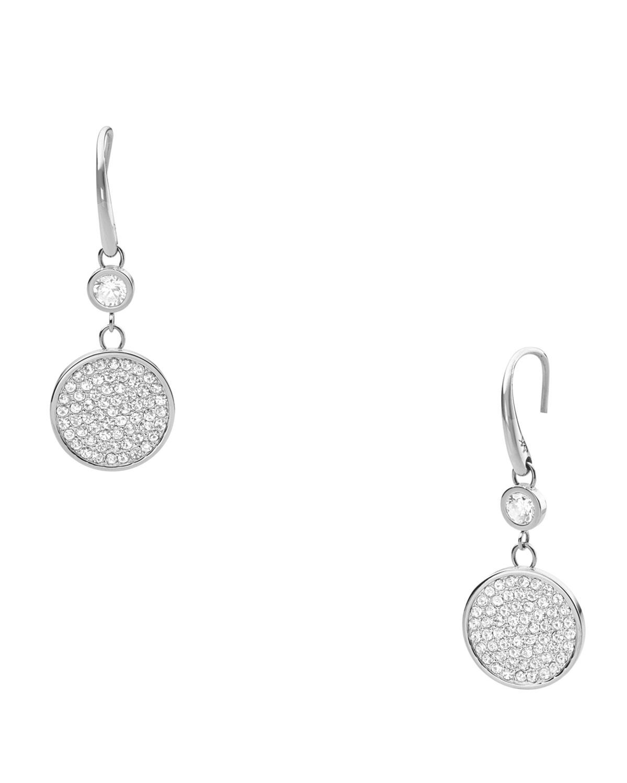 Michael Kors Pave Drop Earrings Silver Color In Metallic