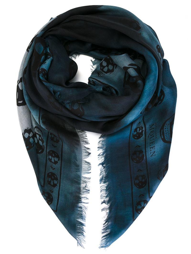 Lyst Alexander Mcqueen Skull Scarf In Blue For Men