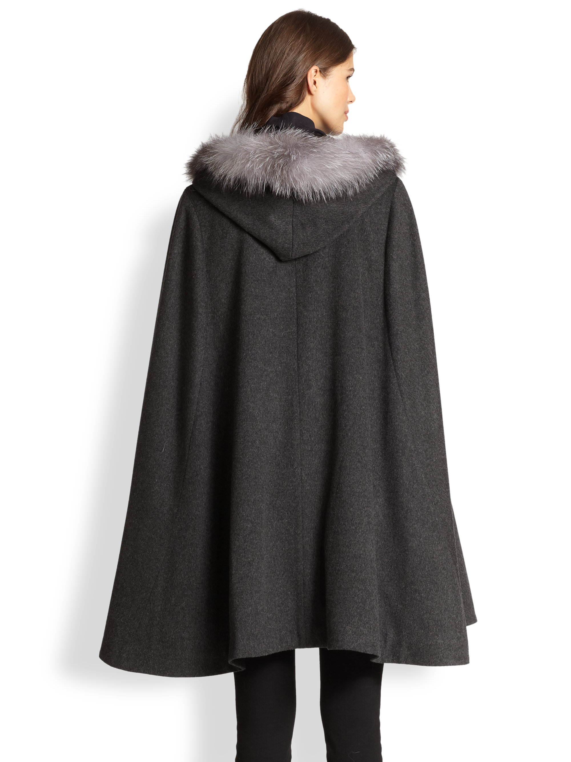 Lyst Sofia Cashmere Fox Fur Trimmed Cashmere Cape In Gray