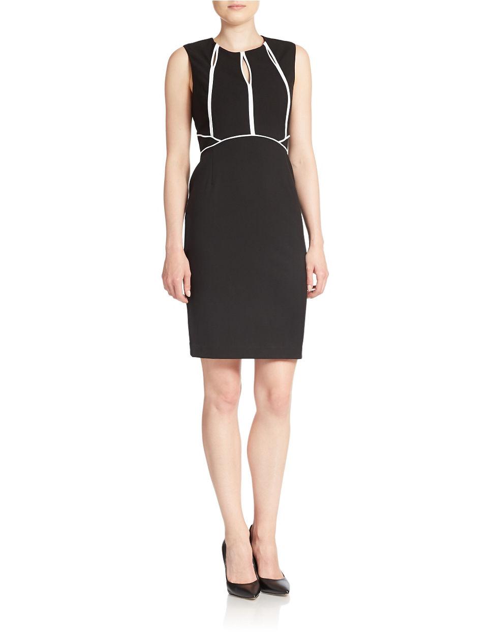Lyst Calvin Klein Keyhole Sheath Dress In Black